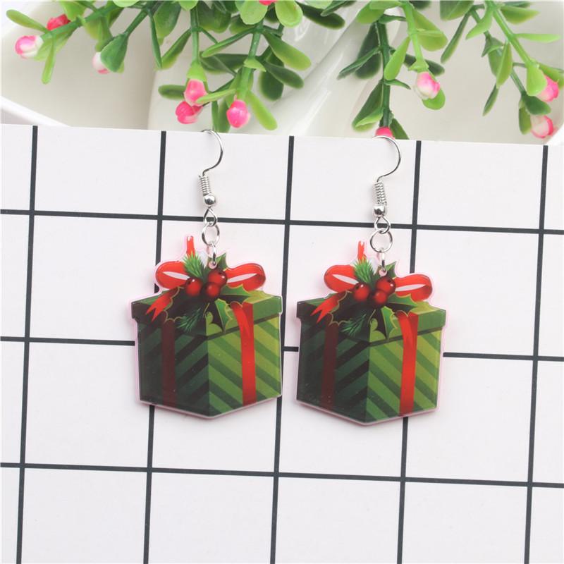 New Christmas Tree Earrings Acrylic Christmas Snow Bells People Cane Gift Box Earrings 4