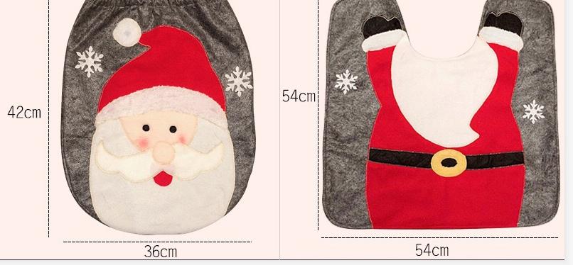 Christmas Toilet Two-piece Set Exquisite Christmas Snowman Elk Toilet Seat Cushion Santa Claus Toilet Cover  4