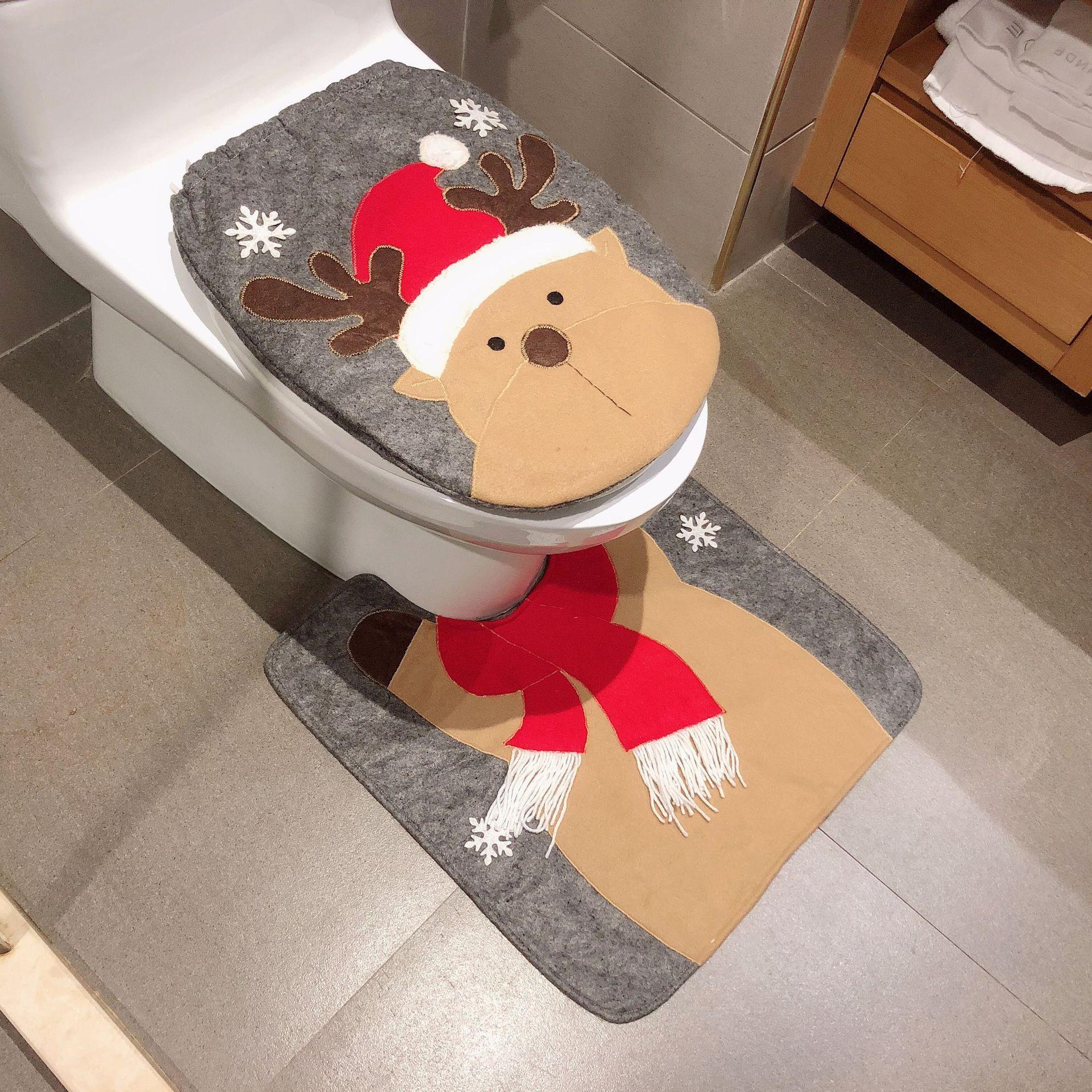 Christmas Toilet Two-piece Set Exquisite Christmas Snowman Elk Toilet Seat Cushion Santa Claus Toilet Cover  6