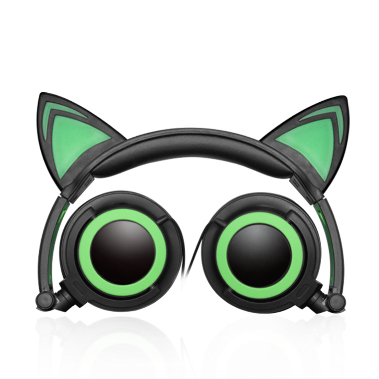 New Children's Cartoon Cat Ears Head-mounted Luminous Foldable Mobile Phone Music Headphones 7