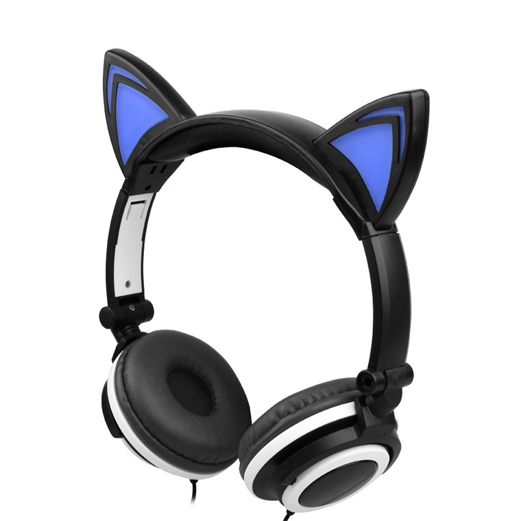 New Children's Cartoon Cat Ears Head-mounted Luminous Foldable Mobile Phone Music Headphones 2