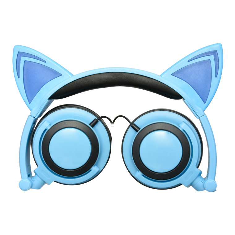 New Children's Cartoon Cat Ears Head-mounted Luminous Foldable Mobile Phone Music Headphones 3