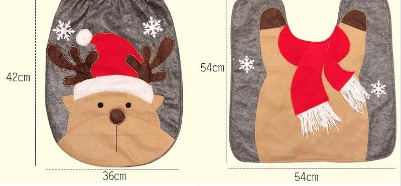 Christmas Toilet Two-piece Set Exquisite Christmas Snowman Elk Toilet Seat Cushion Santa Claus Toilet Cover  2