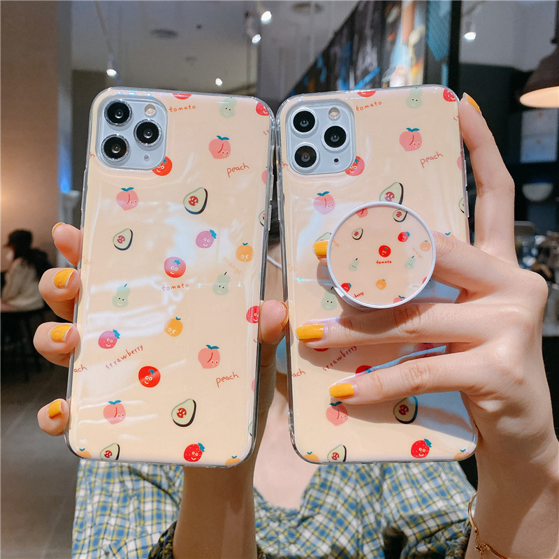 Blu-ray IMD Cartoon iPhone 11 Mobile Phone Case For iPhoneXR Bracket Soft Silicone XSmax Cover 7