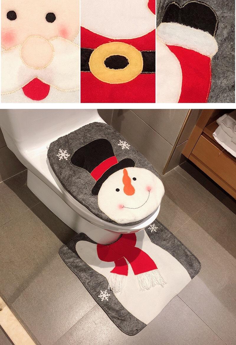 Christmas Toilet Two-piece Set Exquisite Christmas Snowman Elk Toilet Seat Cushion Santa Claus Toilet Cover  1