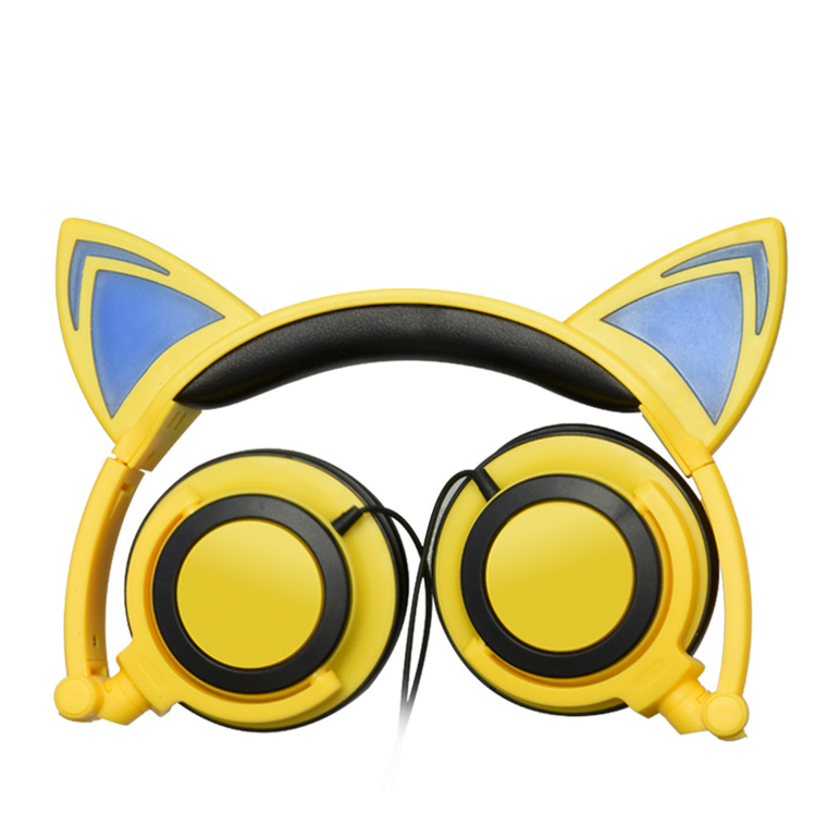 New Children's Cartoon Cat Ears Head-mounted Luminous Foldable Mobile Phone Music Headphones 6
