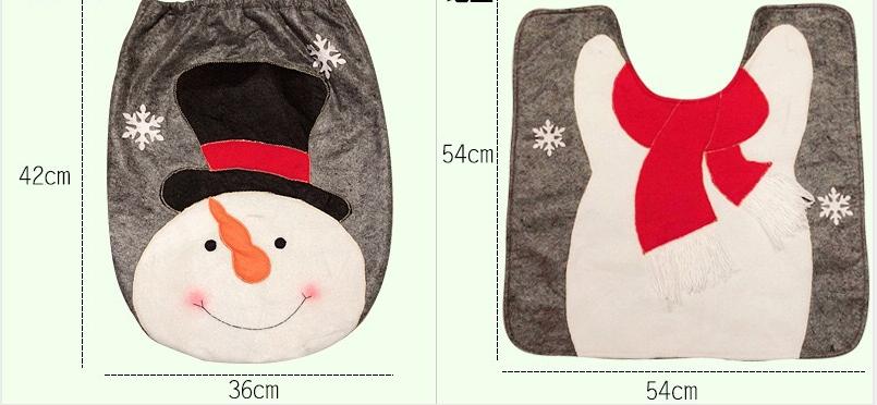 Christmas Toilet Two-piece Set Exquisite Christmas Snowman Elk Toilet Seat Cushion Santa Claus Toilet Cover  3
