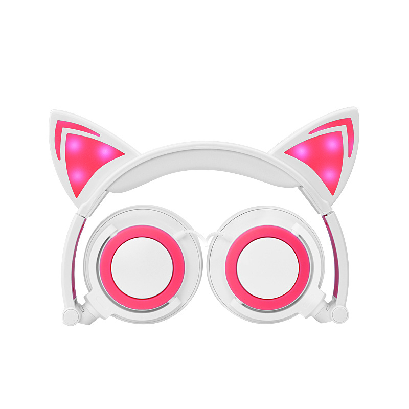 New Children's Cartoon Cat Ears Head-mounted Luminous Foldable Mobile Phone Music Headphones 0