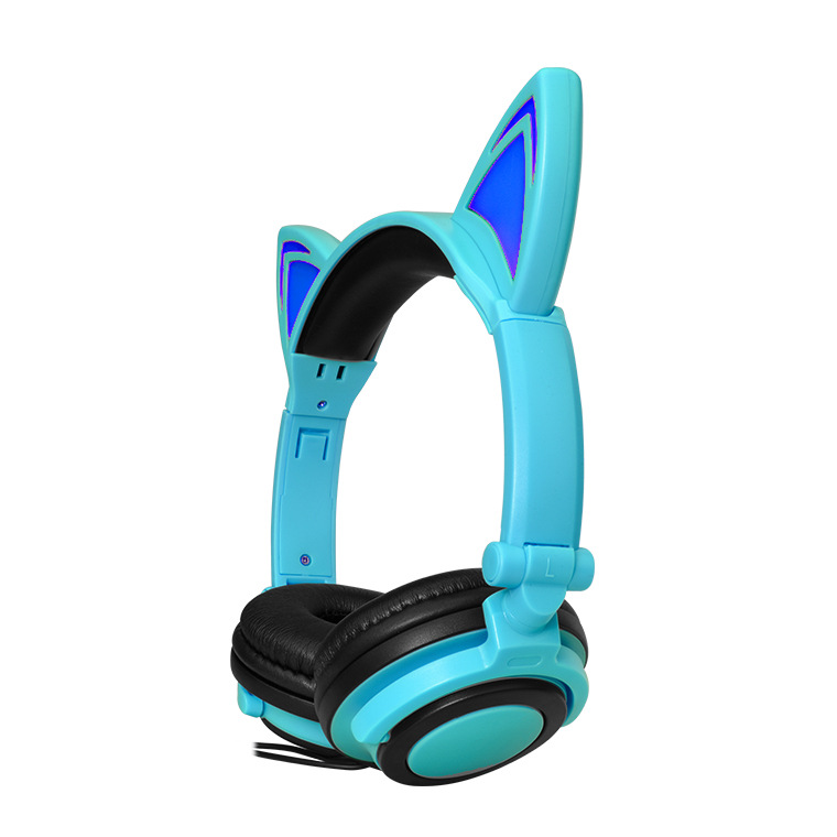 New Children's Cartoon Cat Ears Head-mounted Luminous Foldable Mobile Phone Music Headphones 5