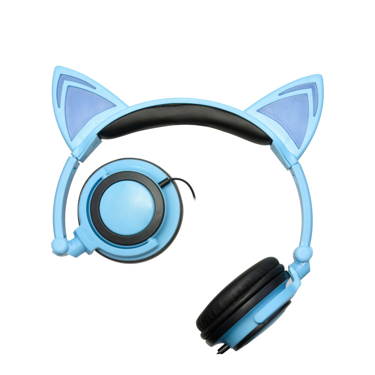 New Children's Cartoon Cat Ears Head-mounted Luminous Foldable Mobile Phone Music Headphones 1