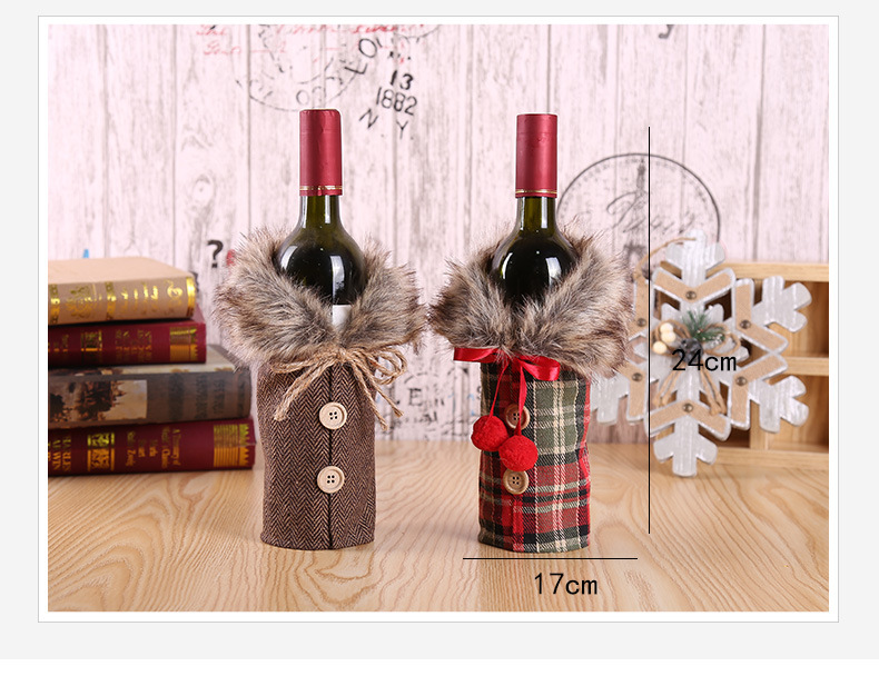Christmas Wine Set Hotel Dining Decoration Restaurant Decoration Props Bow Wine Bottle Set 2