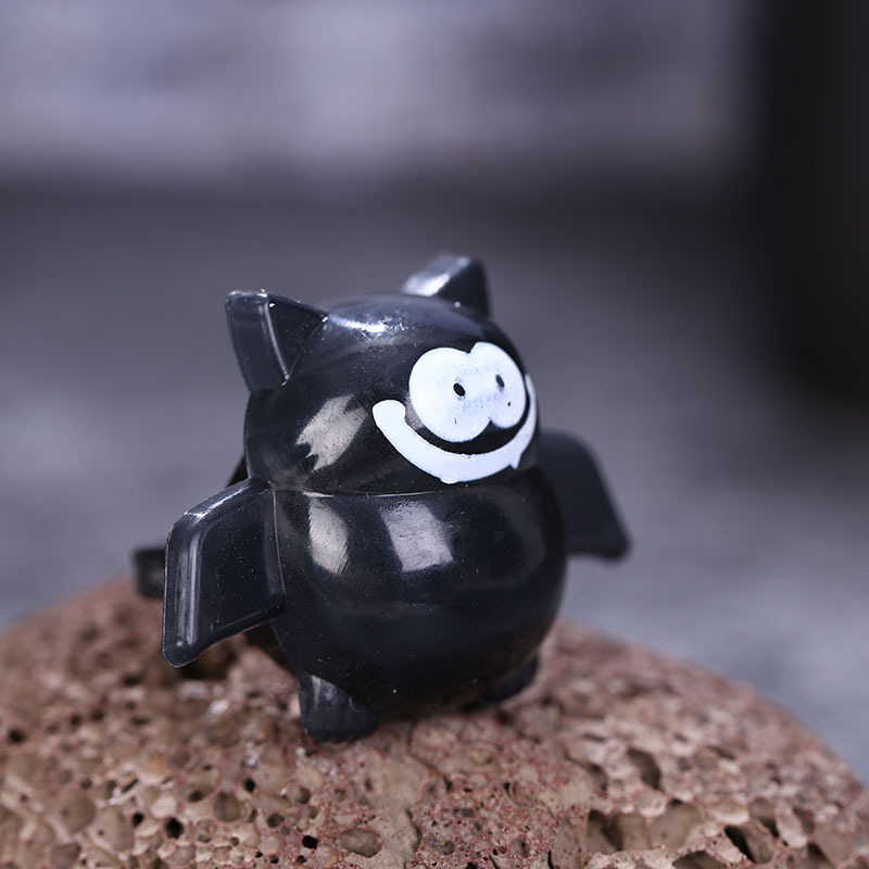 Halloween Plastic Ring LED Glowing Pumpkin Lantern Ring Bat Skull Ring Tricky Small Gift 3