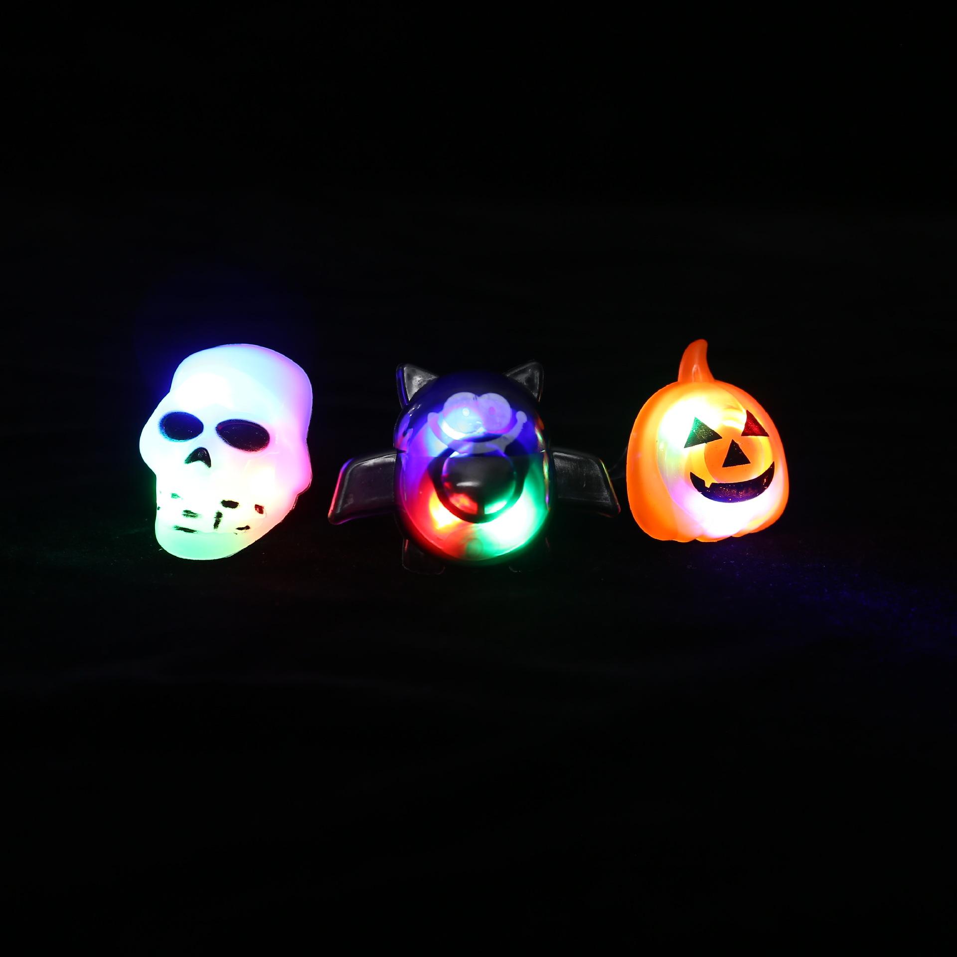 Halloween Plastic Ring LED Glowing Pumpkin Lantern Ring Bat Skull Ring Tricky Small Gift 6
