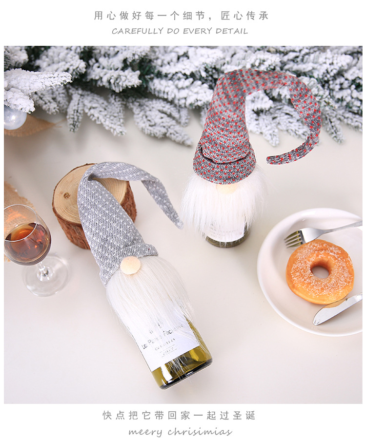 Christmas Decorations Wine Bottle Bag Christmas Forest Man Red Wine Bottle Decoration Holding Hands Red Wine Set Champagne Bottle Holding 2