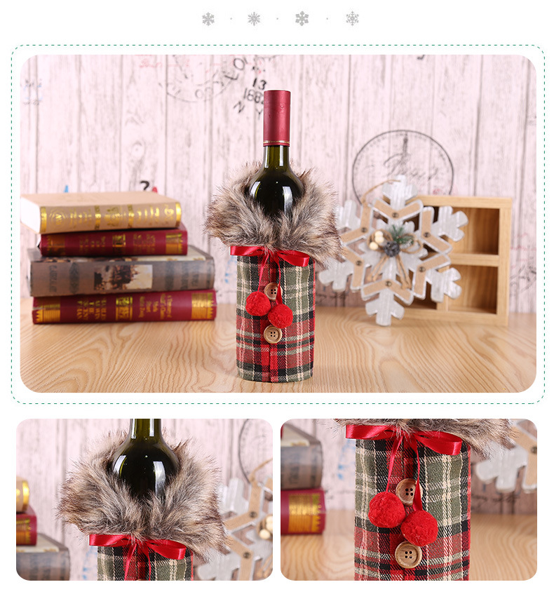 Christmas Wine Set Hotel Dining Decoration Restaurant Decoration Props Bow Wine Bottle Set 1