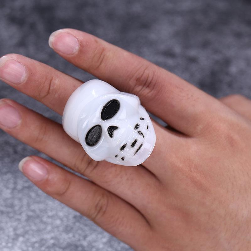 Halloween Plastic Ring LED Glowing Pumpkin Lantern Ring Bat Skull Ring Tricky Small Gift 2