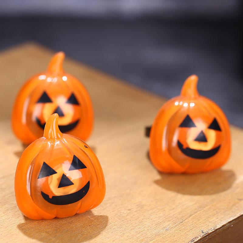 Halloween Plastic Ring LED Glowing Pumpkin Lantern Ring Bat Skull Ring Tricky Small Gift 1