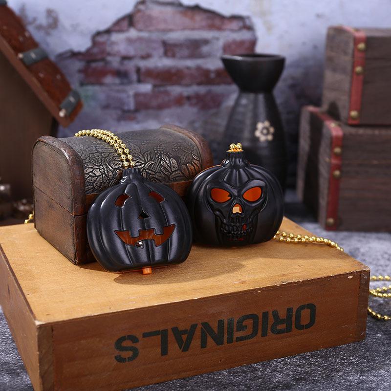 Halloween Glowing Pumpkin Lantern Ghost Festival Pumpkin Skull Necklace Decoration Creative Halloween Decoration Pumpkin Pendant 0