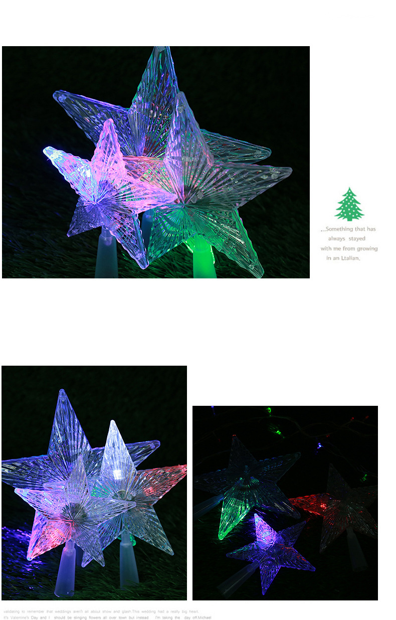 LED Luminous Tree Top Star Wholesale Trade Hot Sale PS Plastic Christmas Decorations Custom Creative Party Decoration 4