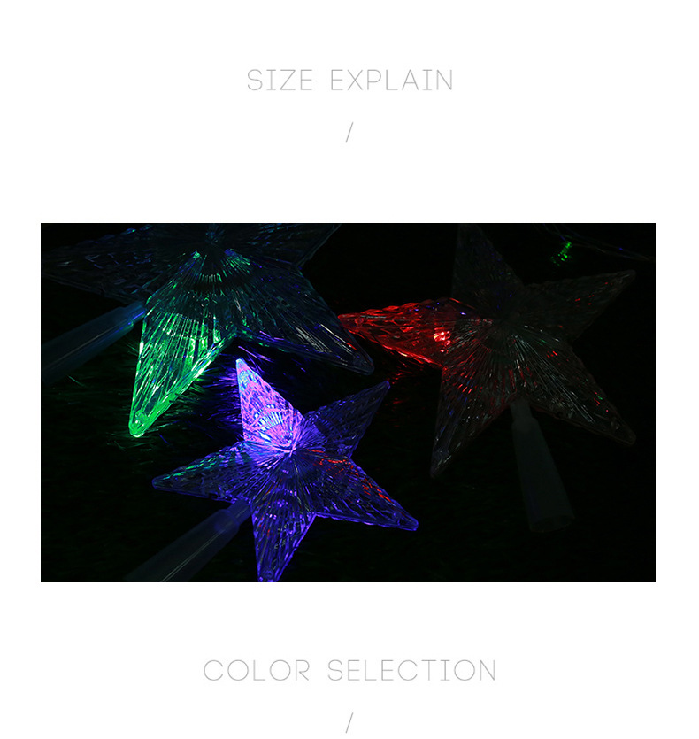 LED Luminous Tree Top Star Wholesale Trade Hot Sale PS Plastic Christmas Decorations Custom Creative Party Decoration 1
