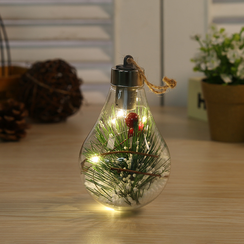 LED Transparent Christmas Ball Christmas Ornament Christmas Tree Decoration Pendant Plastic Bulb Ball  2