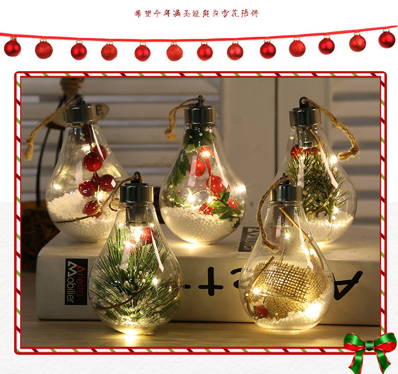 LED Transparent Christmas Ball Christmas Ornament Christmas Tree Decoration Pendant Plastic Bulb Ball  1