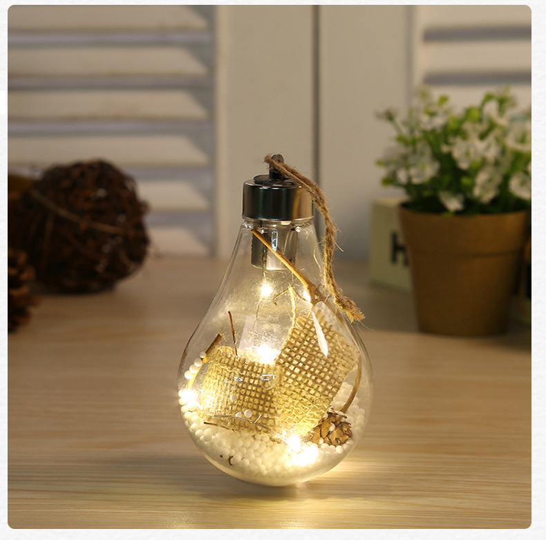 LED Transparent Christmas Ball Christmas Ornament Christmas Tree Decoration Pendant Plastic Bulb Ball  4