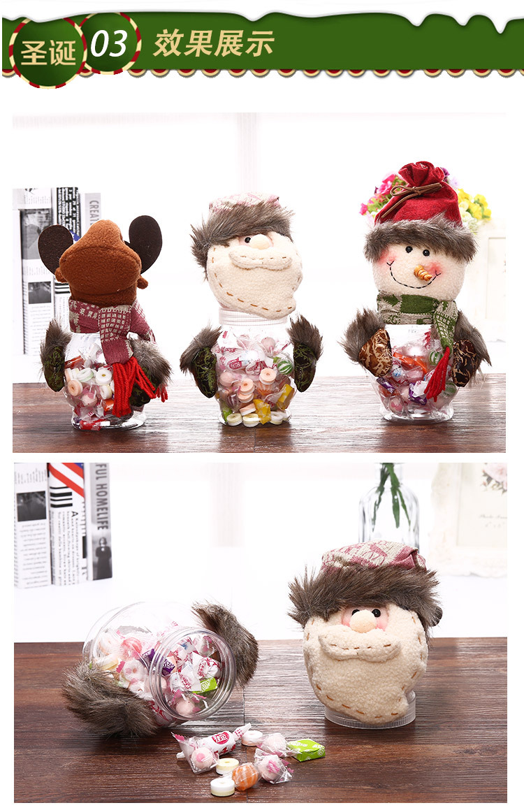Christmas Ornaments Retro Santa Snowman Plastic Candy Box Children Christmas Transparent Candy Jar 2