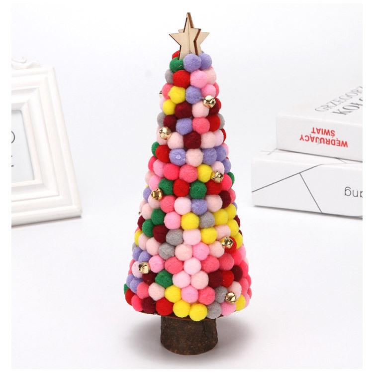 Christmas Decorations Colored Fur Balls Desktop Small Tree 28cm Desktop Mini Christmas Tree Set Up Children's Creative Gifts 2