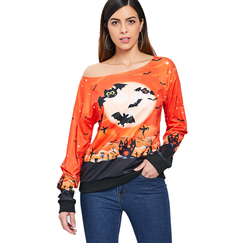 2020 European And American Halloween Print T-Shirt With Trendy Styles Exquisite Workmanship For Women 0