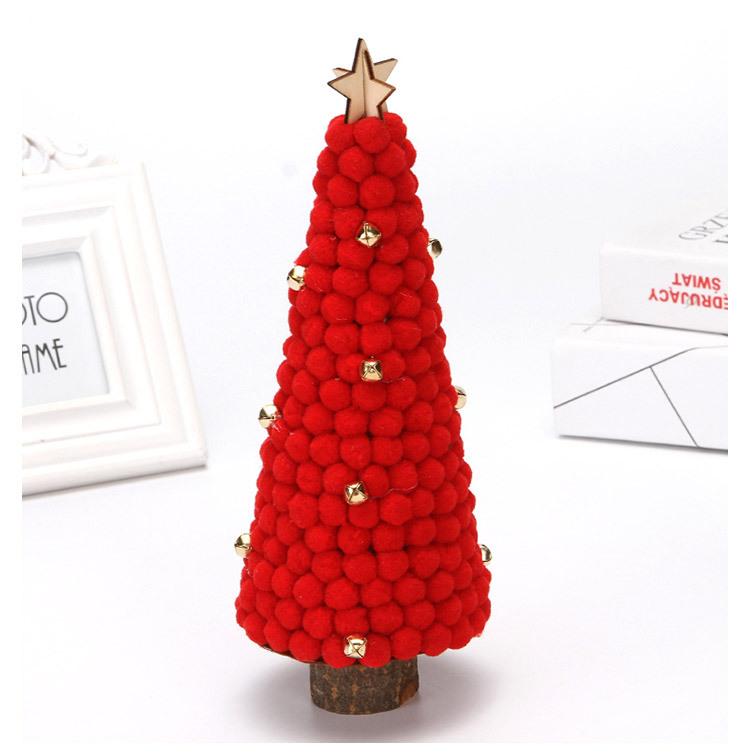 Christmas Decorations Colored Fur Balls Desktop Small Tree 28cm Desktop Mini Christmas Tree Set Up Children's Creative Gifts 3