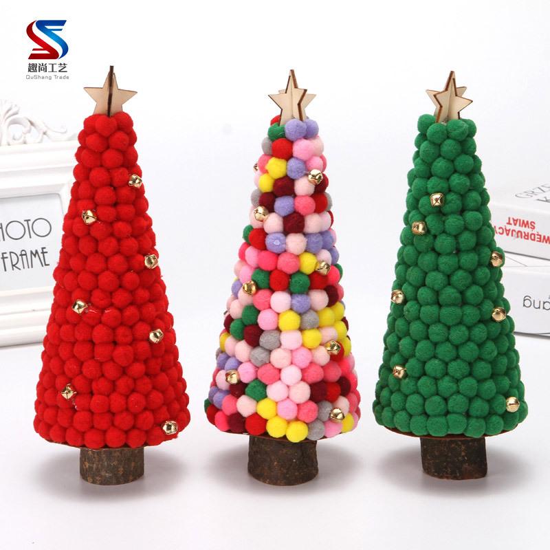 Christmas Decorations Colored Fur Balls Desktop Small Tree 28cm Desktop Mini Christmas Tree Set Up Children's Creative Gifts 5