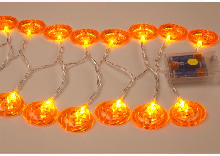 LED Lantern String Lights Starry Lights Halloween Decoration Ins Waterproof Battery Flat Pumpkin Lamp String 4