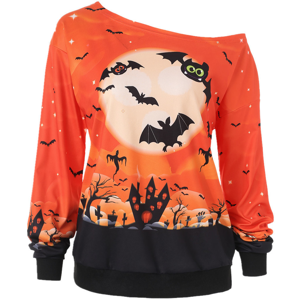 2020 European And American Halloween Print T-Shirt With Trendy Styles Exquisite Workmanship For Women 3