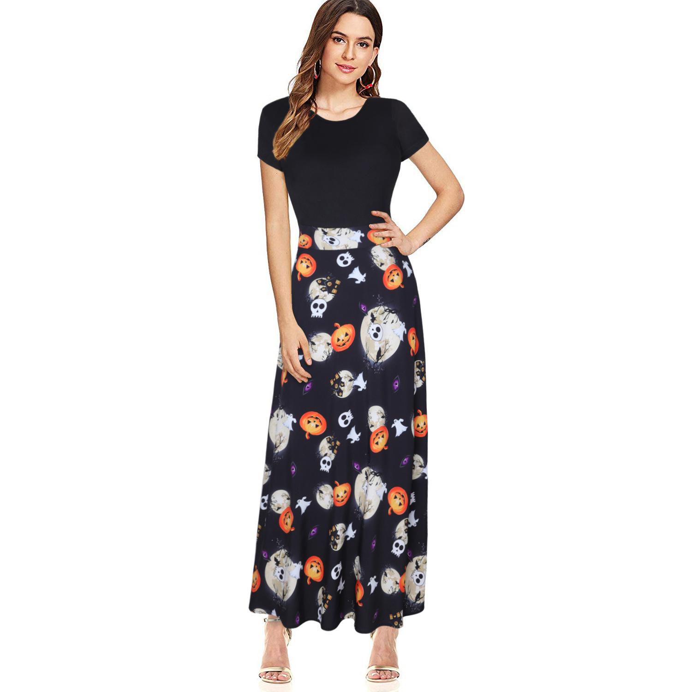European And American Christmas Women's Halloween Print Short-Sleeved High-waisted Long Skirt Slim Dress 3