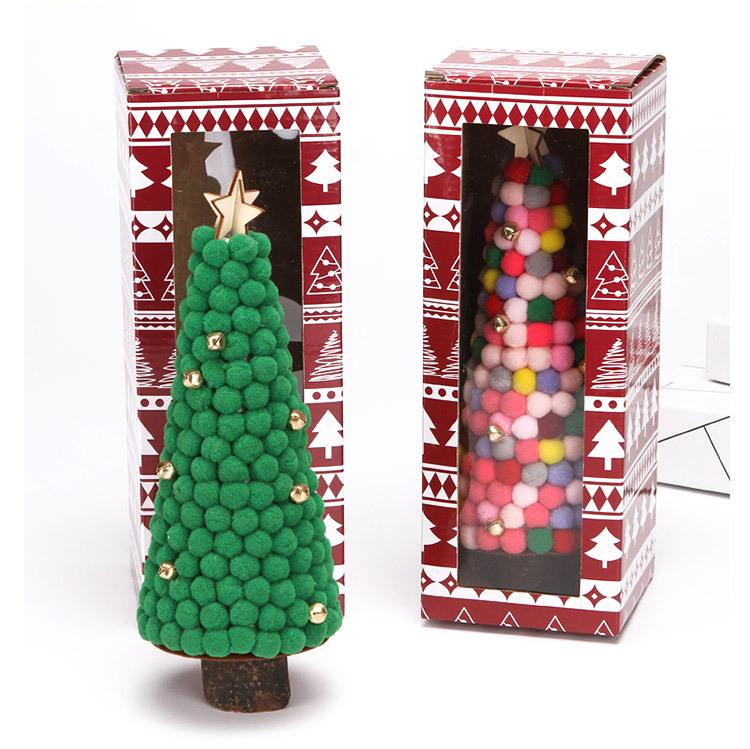 Christmas Decorations Colored Fur Balls Desktop Small Tree 28cm Desktop Mini Christmas Tree Set Up Children's Creative Gifts 1
