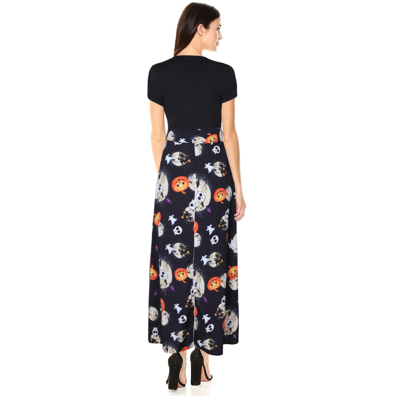 European And American Christmas Women's Halloween Print Short-Sleeved High-waisted Long Skirt Slim Dress 1