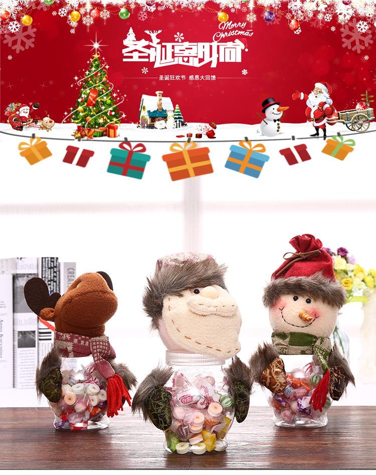 Christmas Ornaments Retro Santa Snowman Plastic Candy Box Children Christmas Transparent Candy Jar 0