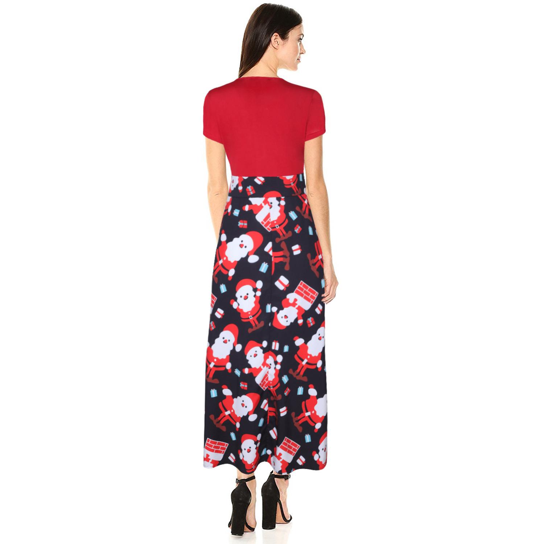 European And American Christmas Women's Halloween Print Short-Sleeved High-waisted Long Skirt Slim Dress 2