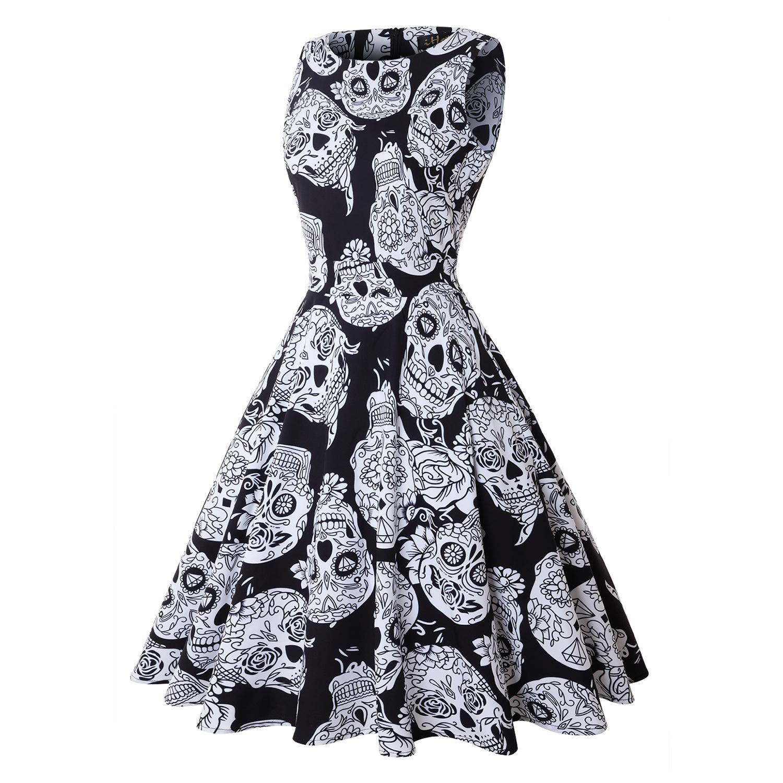 Halloween Pumpkin Skull Print Round Neck Sleeveless Dress With  Large Skirt Round Neck Sleeveless Mid-waist For Women 2