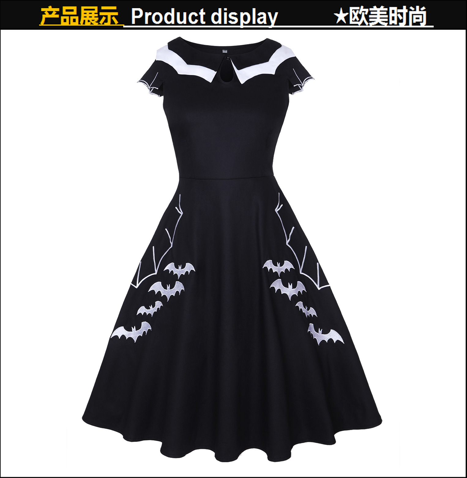 Halloween Bat Embroider Oversize Dress Style With Retro Design Pattern Design And Embroidery Craft For Women 2