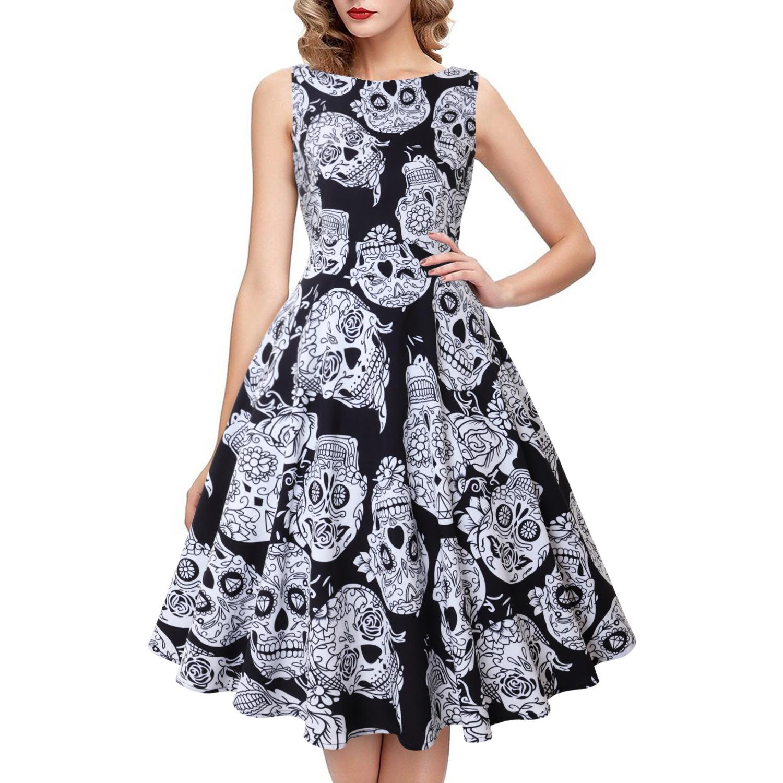 Halloween Pumpkin Skull Print Round Neck Sleeveless Dress With  Large Skirt Round Neck Sleeveless Mid-waist For Women 0