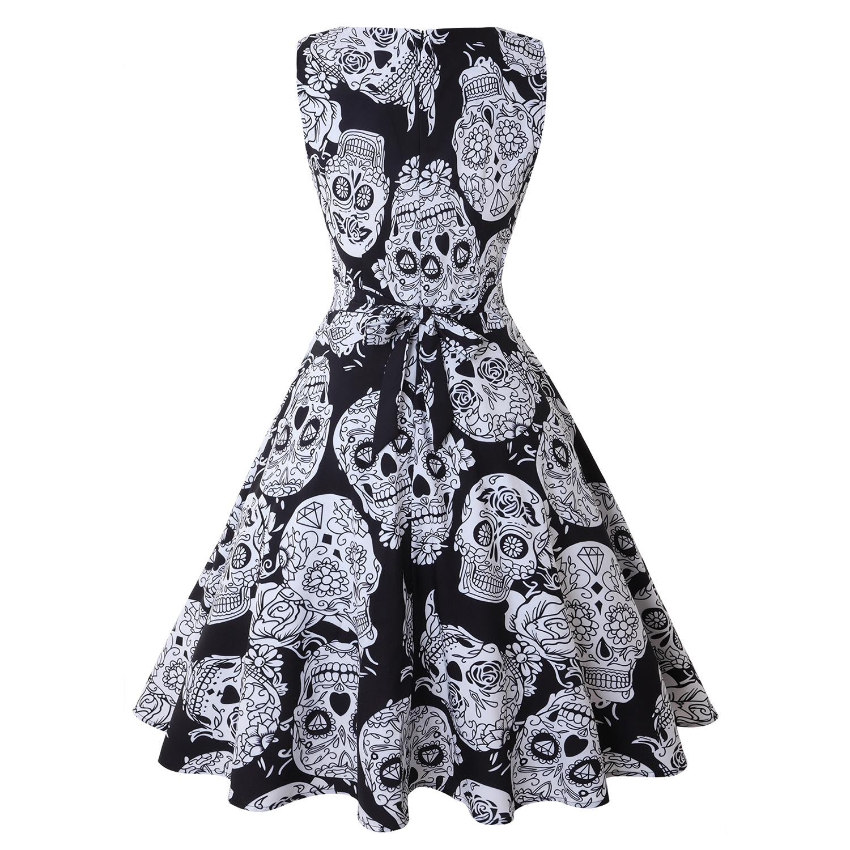 Halloween Pumpkin Skull Print Round Neck Sleeveless Dress With  Large Skirt Round Neck Sleeveless Mid-waist For Women 3