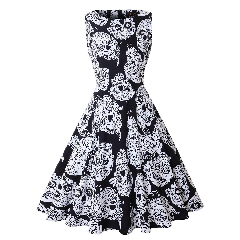 Halloween Pumpkin Skull Print Round Neck Sleeveless Dress With  Large Skirt Round Neck Sleeveless Mid-waist For Women 1