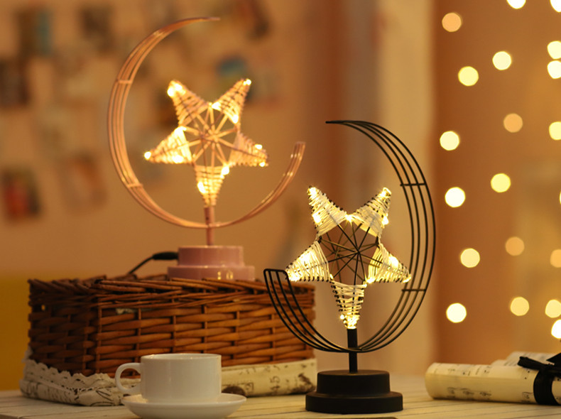 ins Explosion Model Nordic Led Girl Heart Star Wrought Iron Night Light Birthday Modeling Decorative Lamp 3