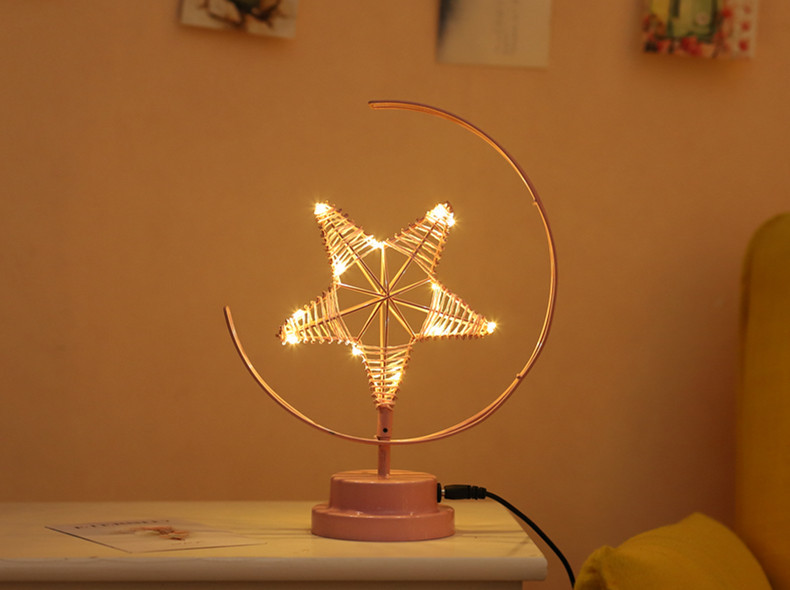 ins Explosion Model Nordic Led Girl Heart Star Wrought Iron Night Light Birthday Modeling Decorative Lamp 1