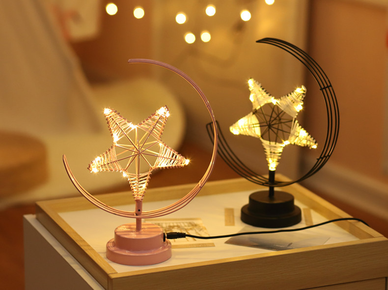 ins Explosion Model Nordic Led Girl Heart Star Wrought Iron Night Light Birthday Modeling Decorative Lamp 4
