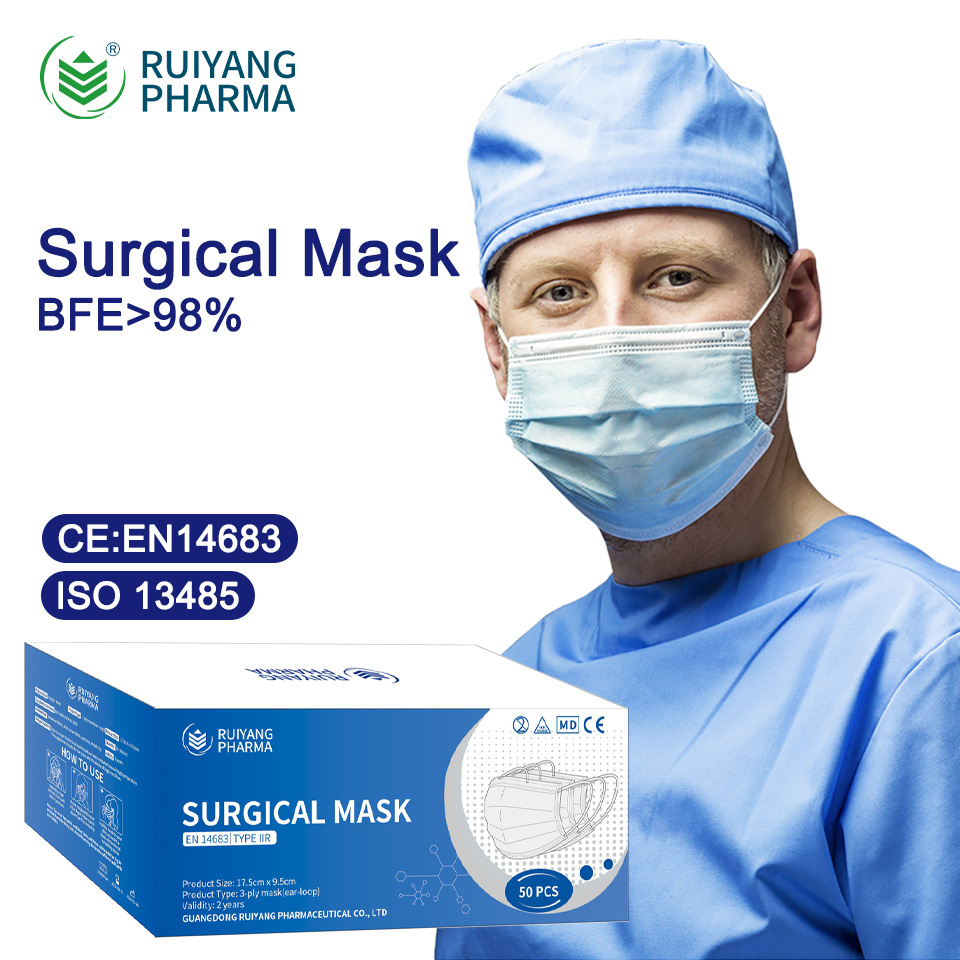 Ruiyang Pharma CE EN14683 Type IIR Medical Surgical Mask Disposable Adult And Child Mask 0