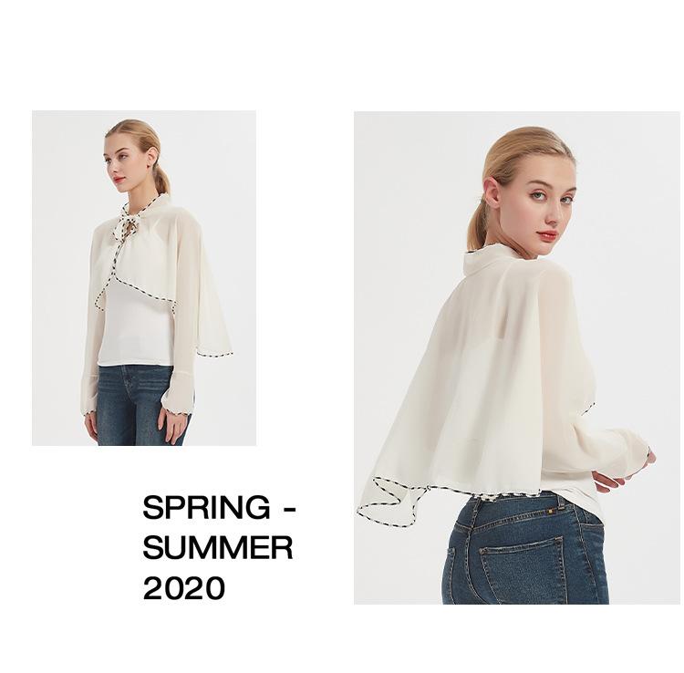 Spring And Summer Rice White Chiffon Sunscreen Clothing Ladies Driving Sunshade Sun Shawl 4