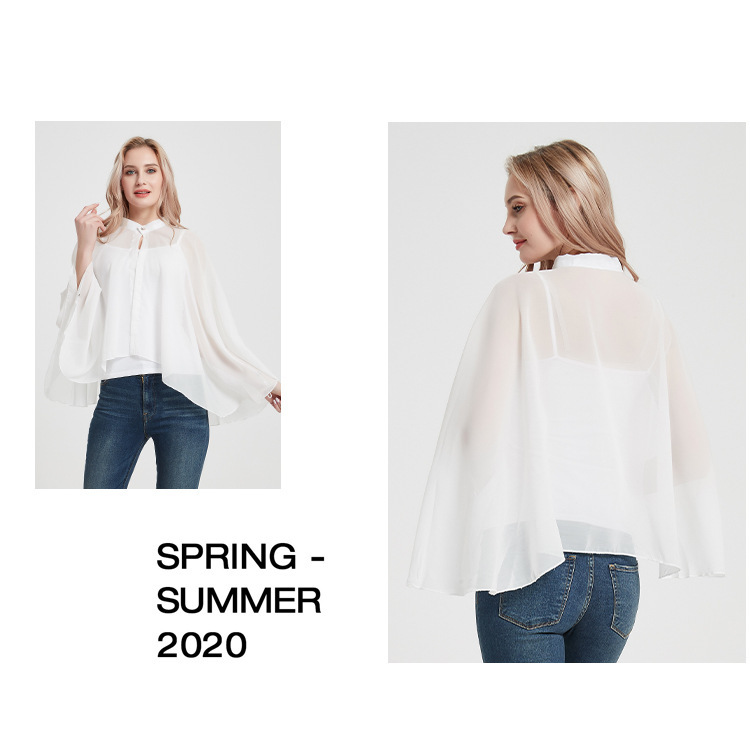 2020 New Style Driving And Cycling Button Pure White Sun Protection Clothes Ladies Chiffon Shawl Cloak Sunshade 4